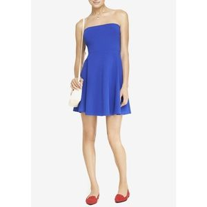 Express Blue Strapless Skater Dress